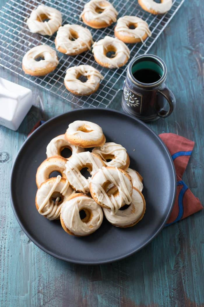 Browned butter frosting on baked sweet potato donuts; what could be better!