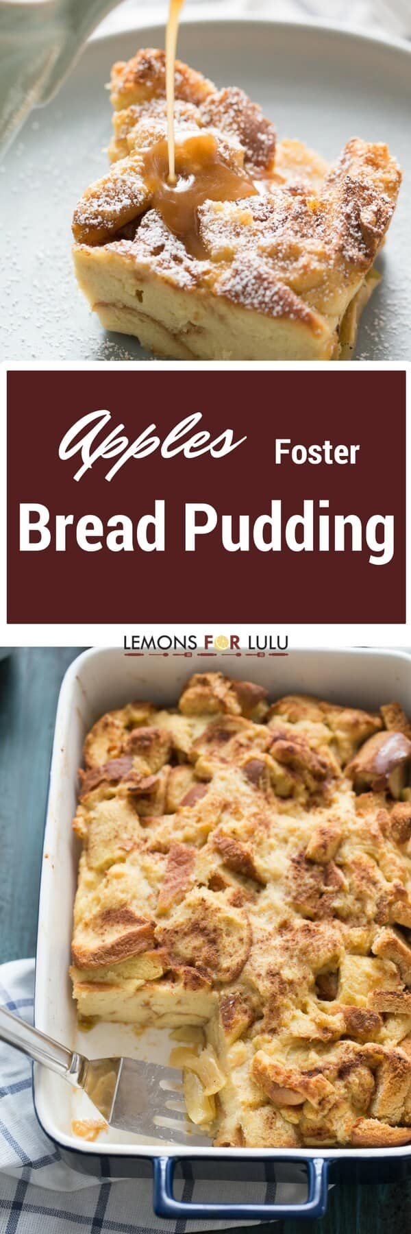 Sweet bread is tossed with cinnamon apples in the easy apple bread pudding recipe. Each serving is topped with a homemade caramel sauce that is so good, you'll want to pour it on everything!