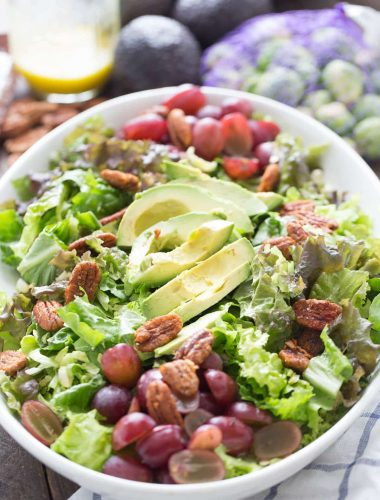 This harvest salad is so easy to prepare. It has a nice balance of tangy and sweet!