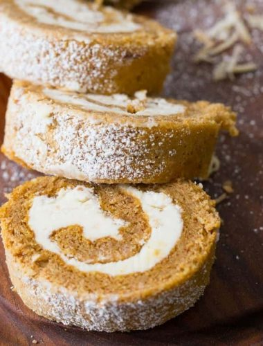 This pumpkin roll is a little different then the rest. This cake is filled with a creamy coconut filling instead of traditional cream cheese!