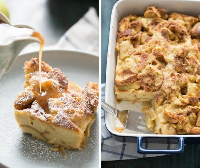 This easy apple bread pudding recipe is served with a homemade caramel sauce on top!