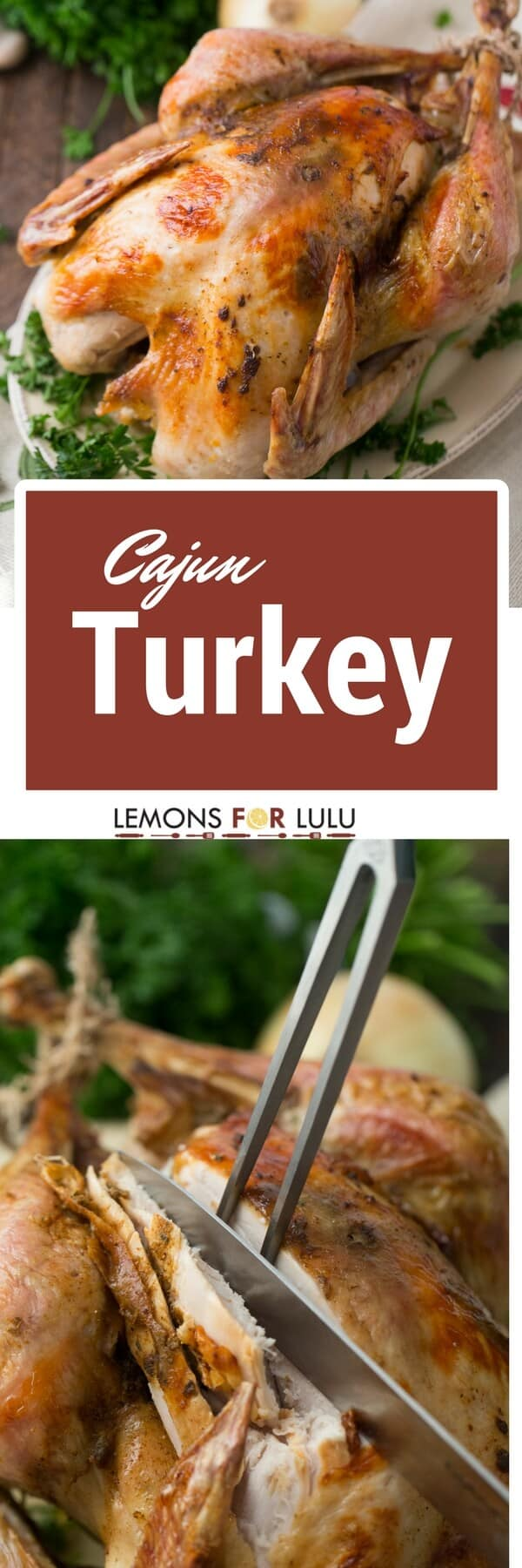 This Cajun turkey shines with spice and flavor! The meat itself is s tender and delicious, you are going to want to be sure you have leftovers!
