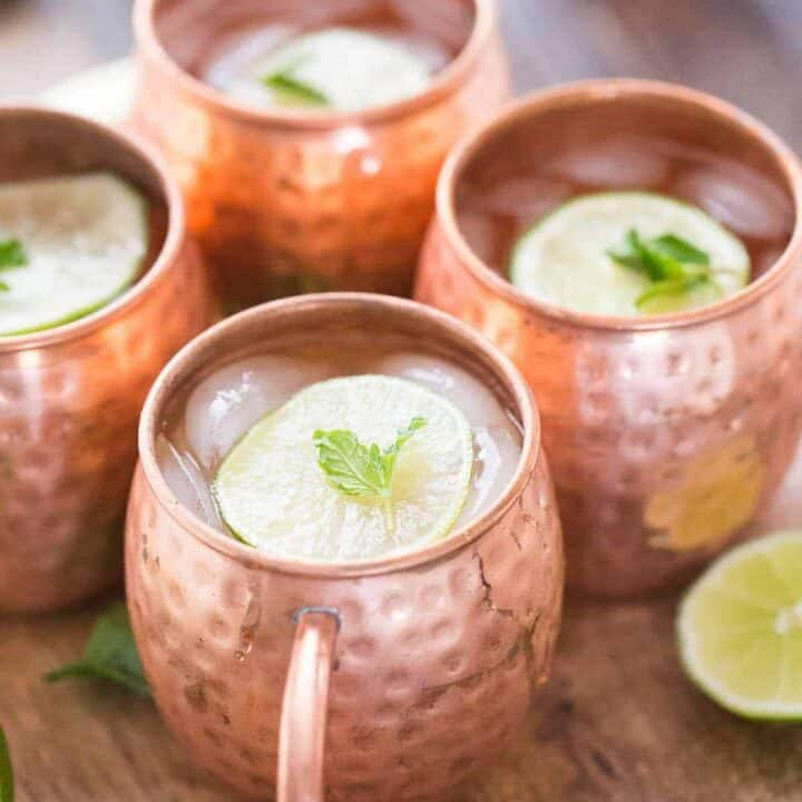 A Moscow mule with mint and champagne is just what you need at your next celebration!