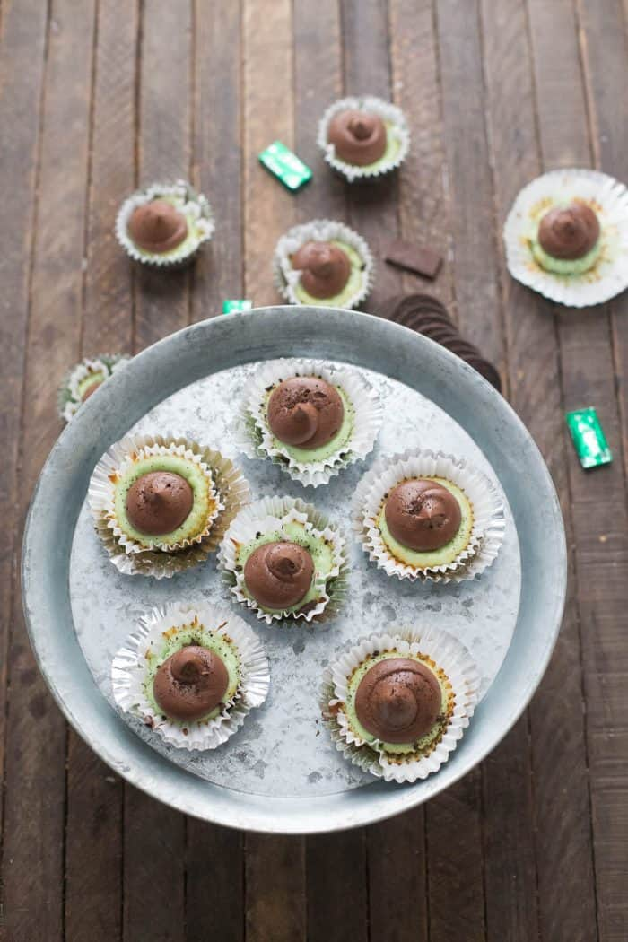 Minty mini cheesecakes are a fabulous two-bite treat! The fudge frosting is the best!