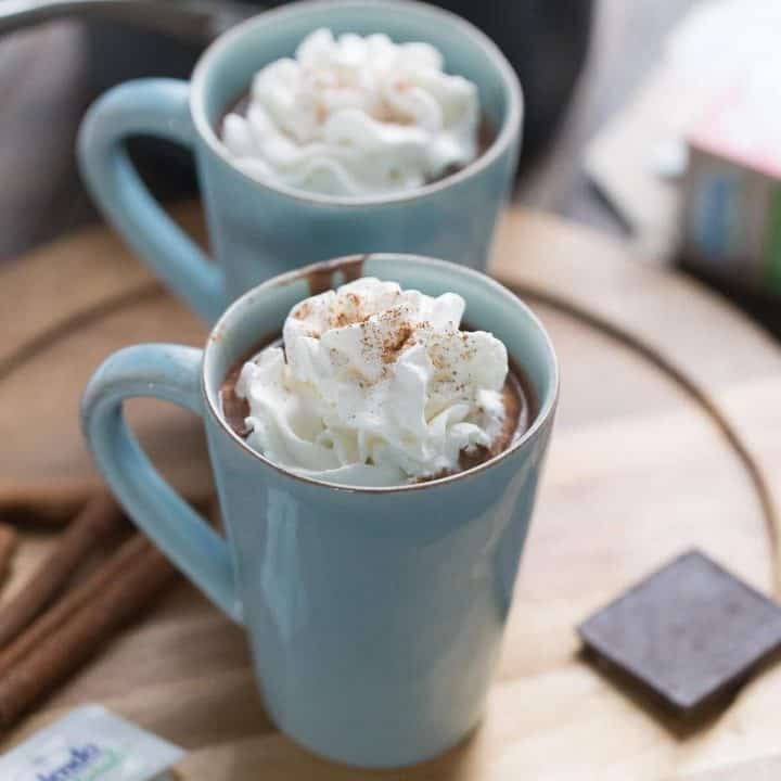 This Mexican hot chocolate is a creamy blend of spicy sweet flavors! It will warm you up in the best way!