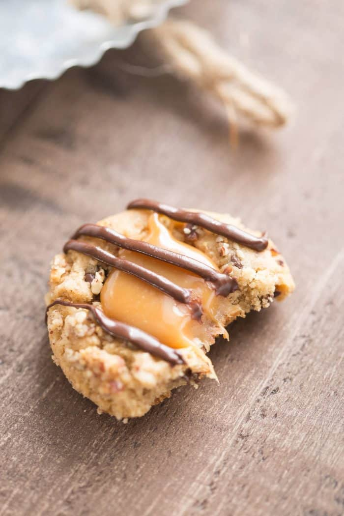 These turtle cookies boast lots of peanut butter flavor and mini chocolate chips!