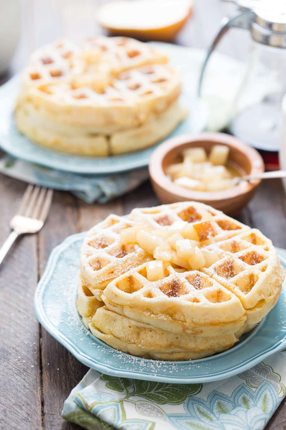 Homemade waffles are best, especially when they are topped with homemade spiced pears!