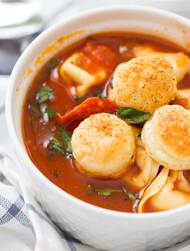 This pizza soup is going to be a family favorite! Who can resist pizza?