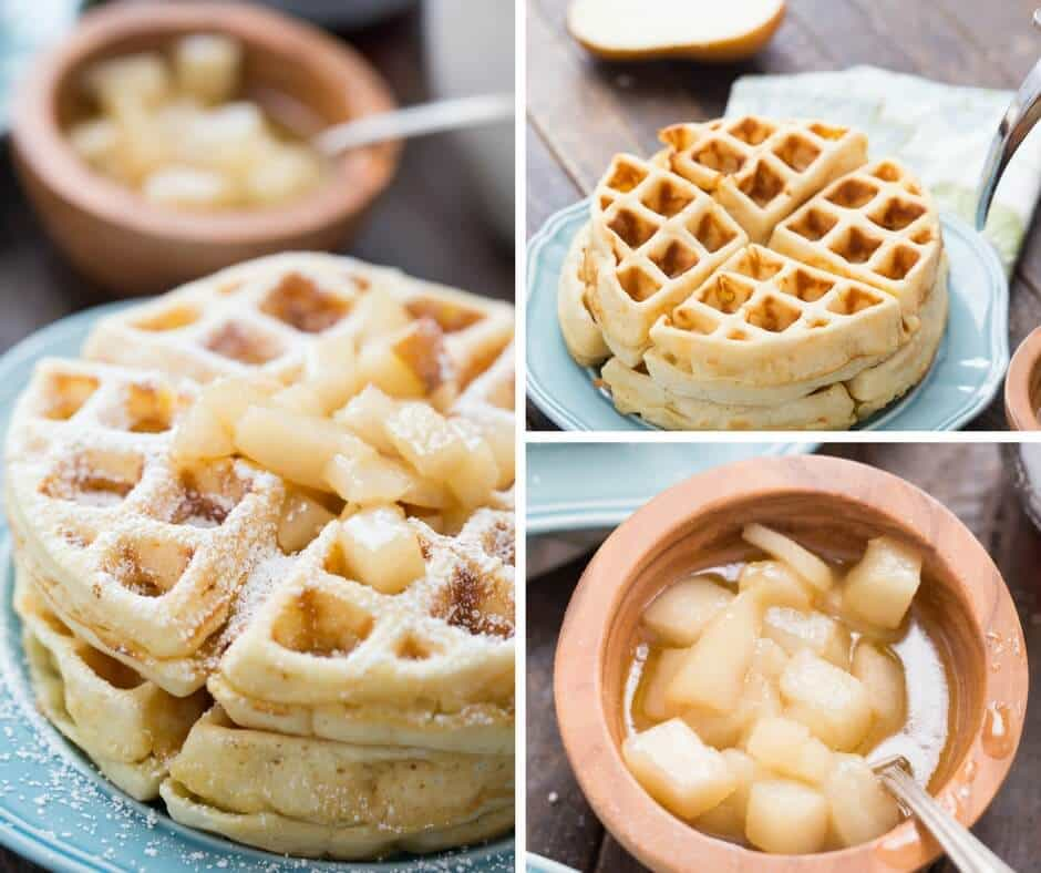 Treat yourself to homemade waffles today! These browned butter waffles are thick and soft and topped with sweet and spicy spiced pears!