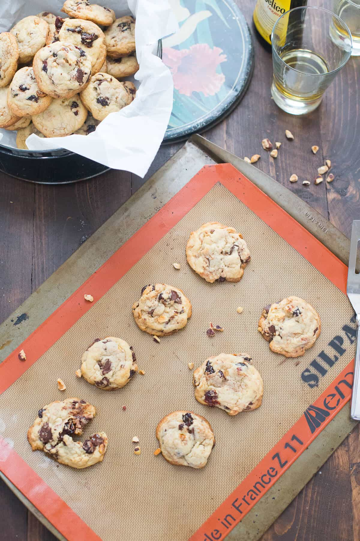 Dried cherry lovers are going to love these cherry chip cookies! The tart cherries, sweet chocolate and crunchy hazelnuts are an amazing combination!