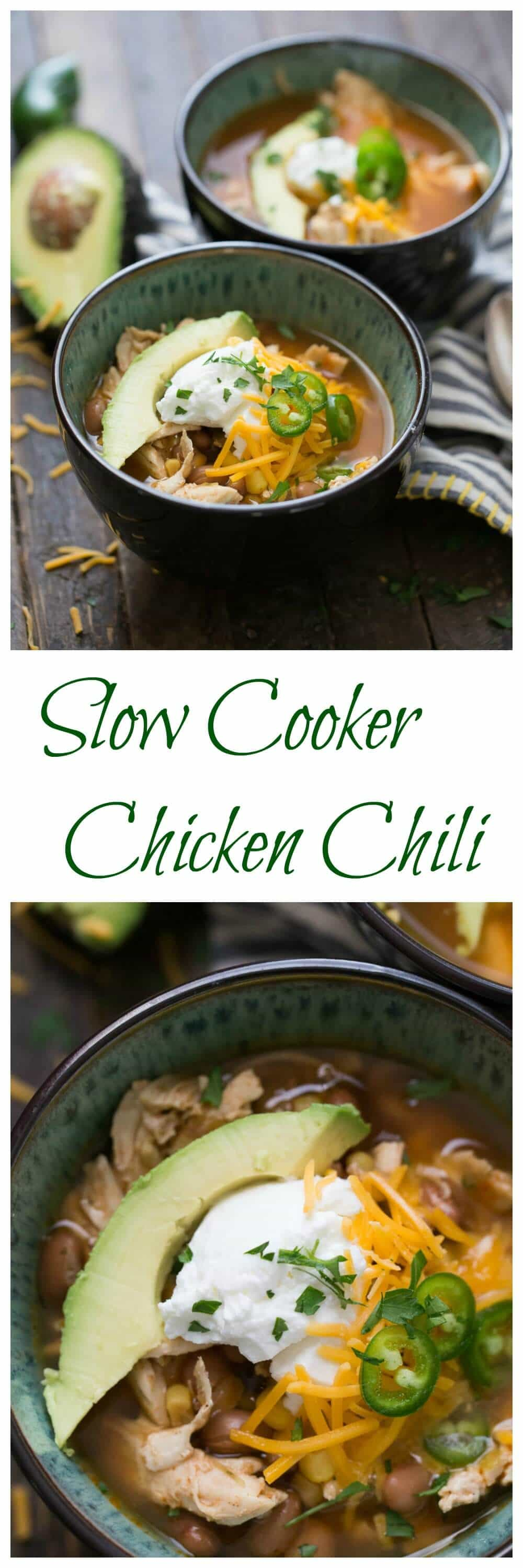 This slow cooker chicken chili is so easy! Let the slow cooker do all the work and you enjoy a hearty and satisfying recipe!