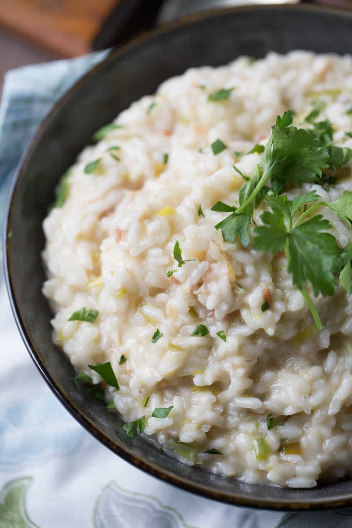 This bacon risotto is so easy to make and it tastes incredible! You will turn to make this side dish over and over again!