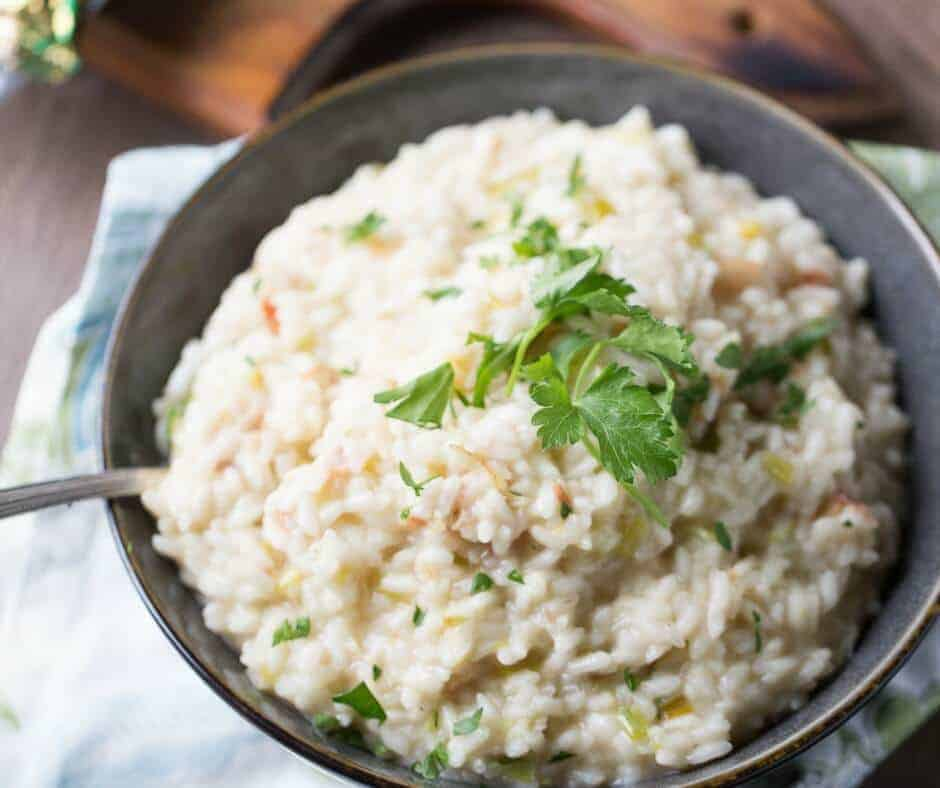 Bacon risotto is a game changer! Salty bacon and sharp white cheddar cheese work together to make something glorious!
