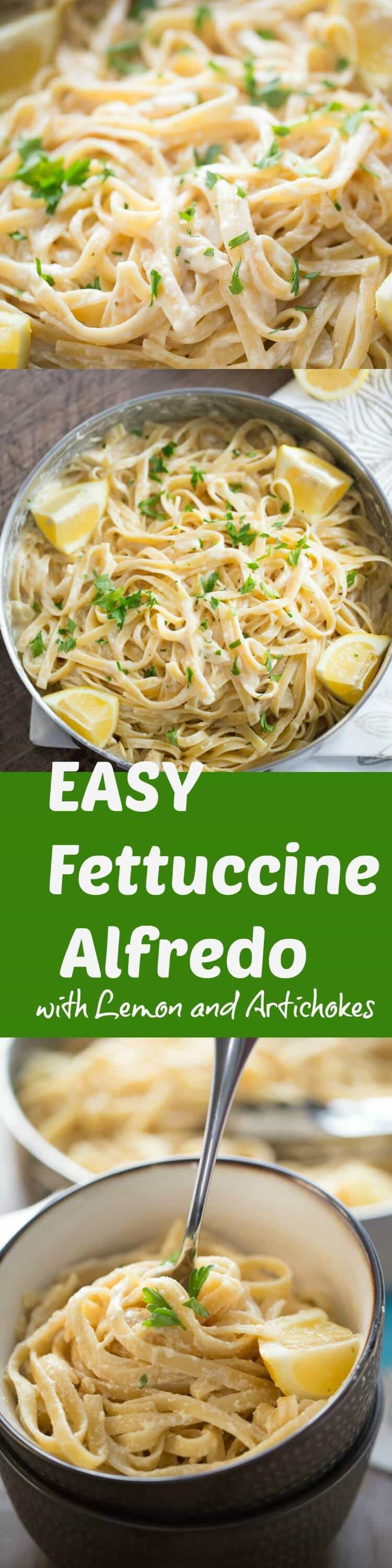 This easy Fettuccine Alfredo recipe is so light and tasty! The lemon sauce is creamy and smooth!