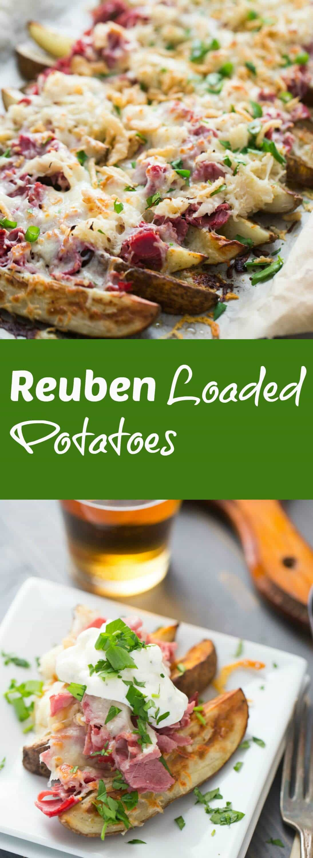 This loaded potatoes recipe is so good! Classic reuben ingredients are a piled high on top of crispy potato wedges! All that you need is a cold pint of beer on the side! lemonsforlulu.com
