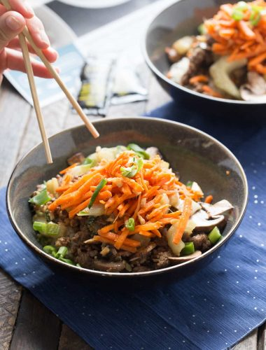 These beef bowls are made simply with Kroger new Prep and Pared meal kits!