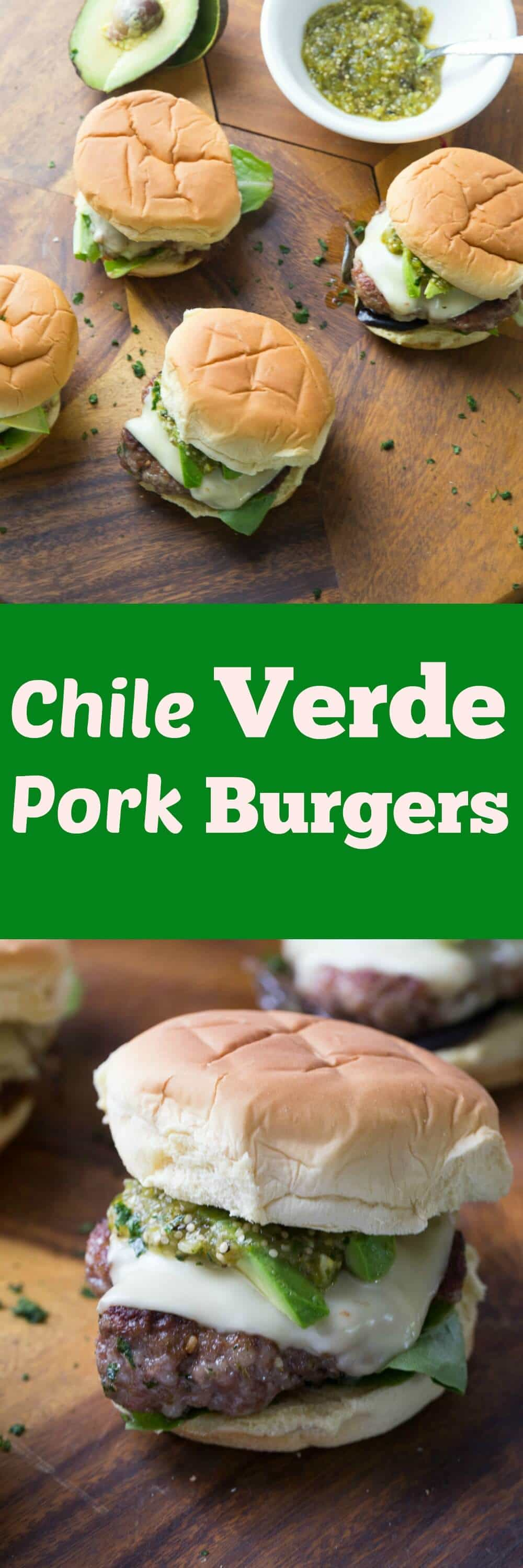 These pork burgers will make you forget the beef! These well seasoned burgers are topped with a simple Chile Verde and cool avocados. Tex-Mex meets BBQ! lemonsforlulu.com