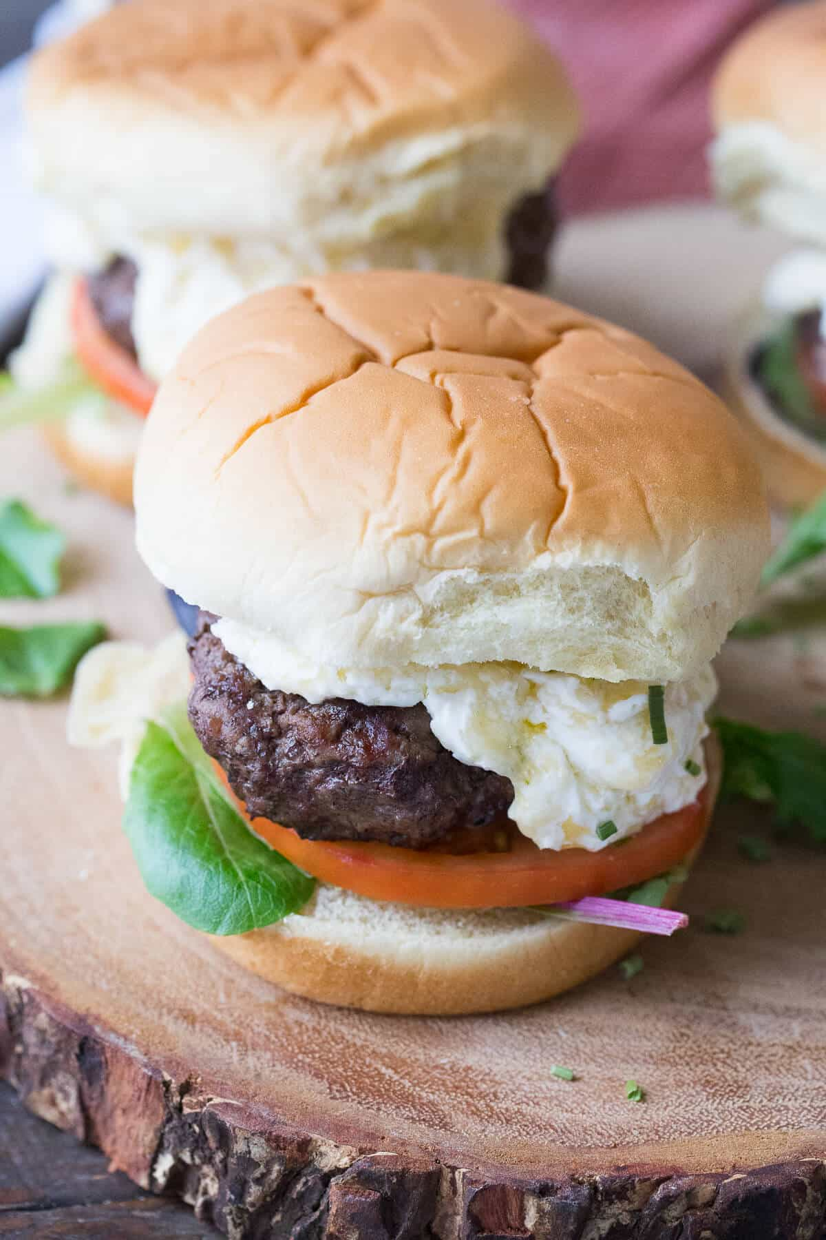 These horseradish cheddar burgers and so thick and juicy and have just the right amount of topping!