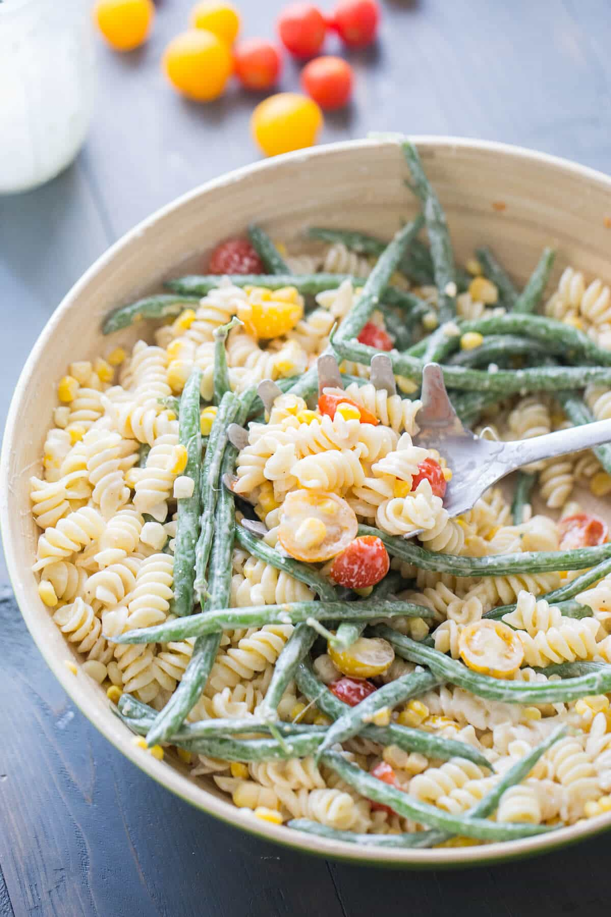 A creamy vegetable pasta salad that will be perfect for your summer entertaining!