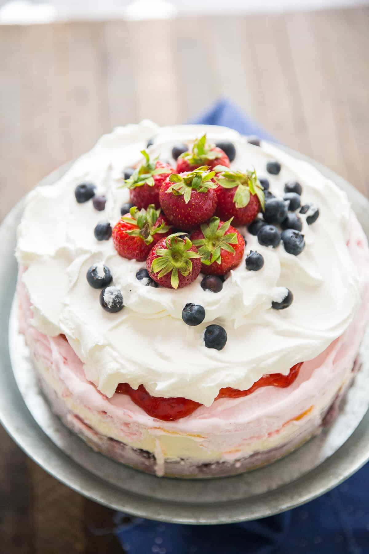 A red, white, and blue ice cream cake that screams summer fun!