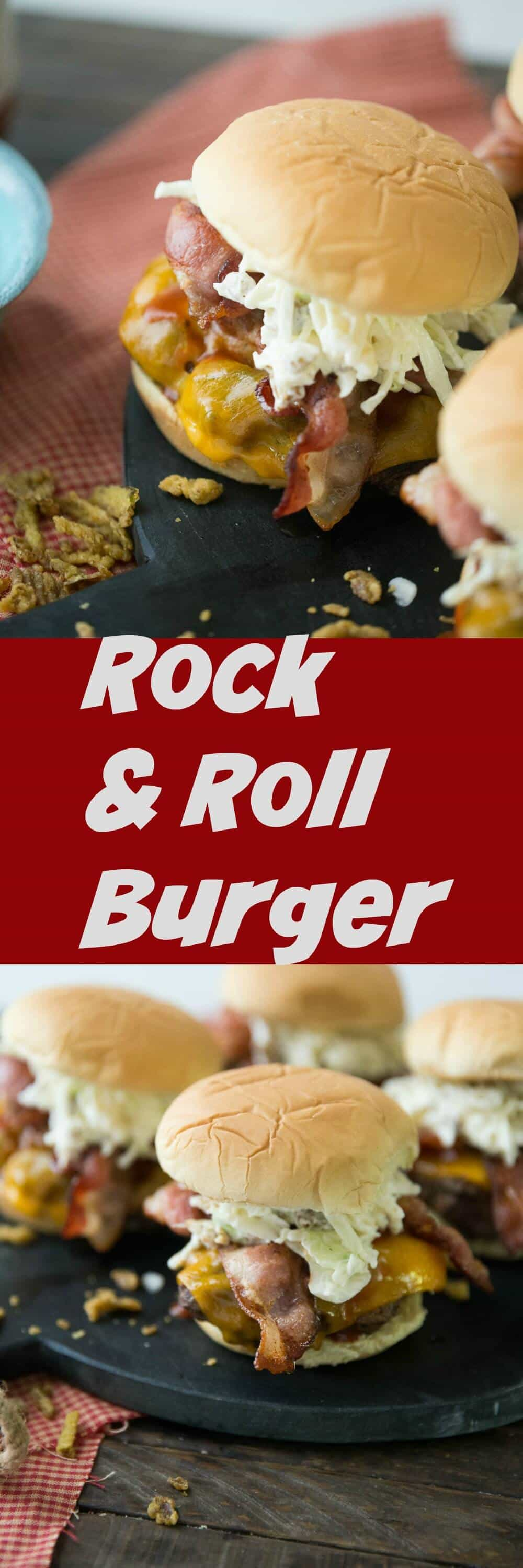 This rock and roll burger is a little classic and a little crazy, which fits the description! This burger is going to knock your sock off!