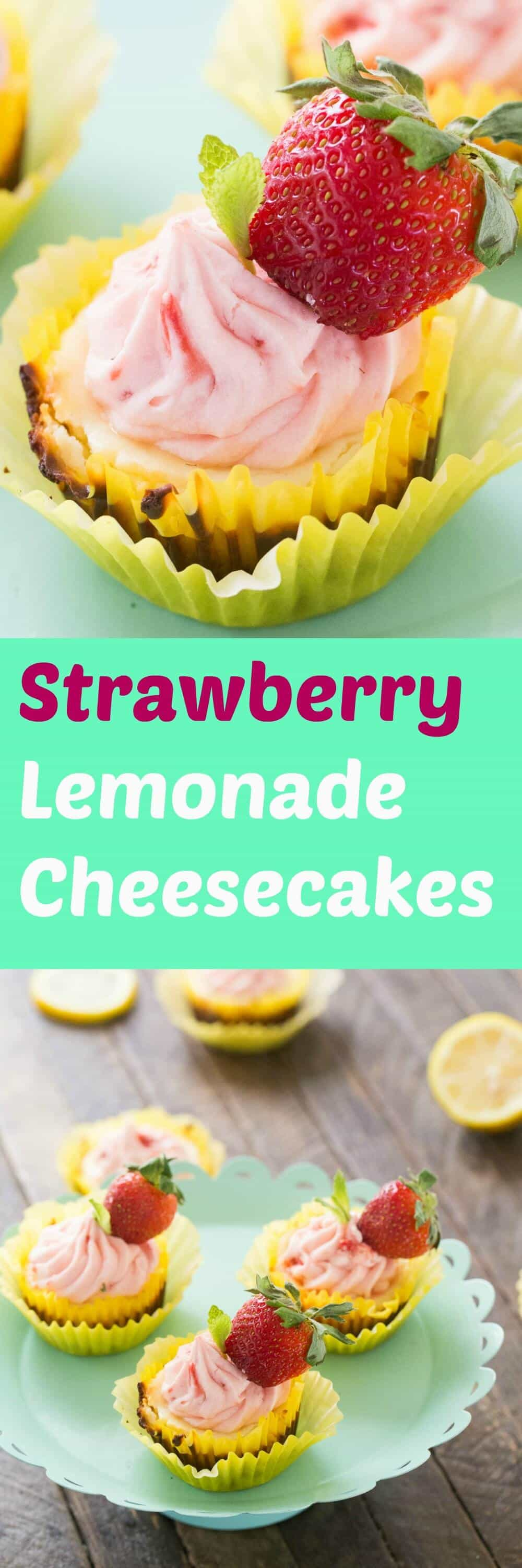 These strawberry lemonade cheesecakes burst with flavor! Each bite is lusciously rich and creamy and shows off the tart and sweet ingredients hidden within!