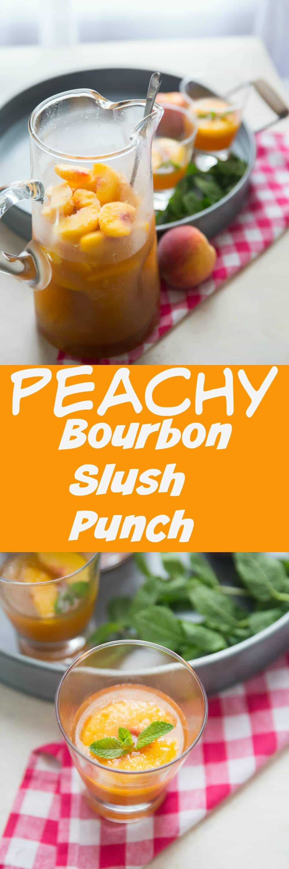 Nothing beats a cool bourbon slush punch for your summer party! This peachy version shows off the summery fruit of summer in each and every glass!
