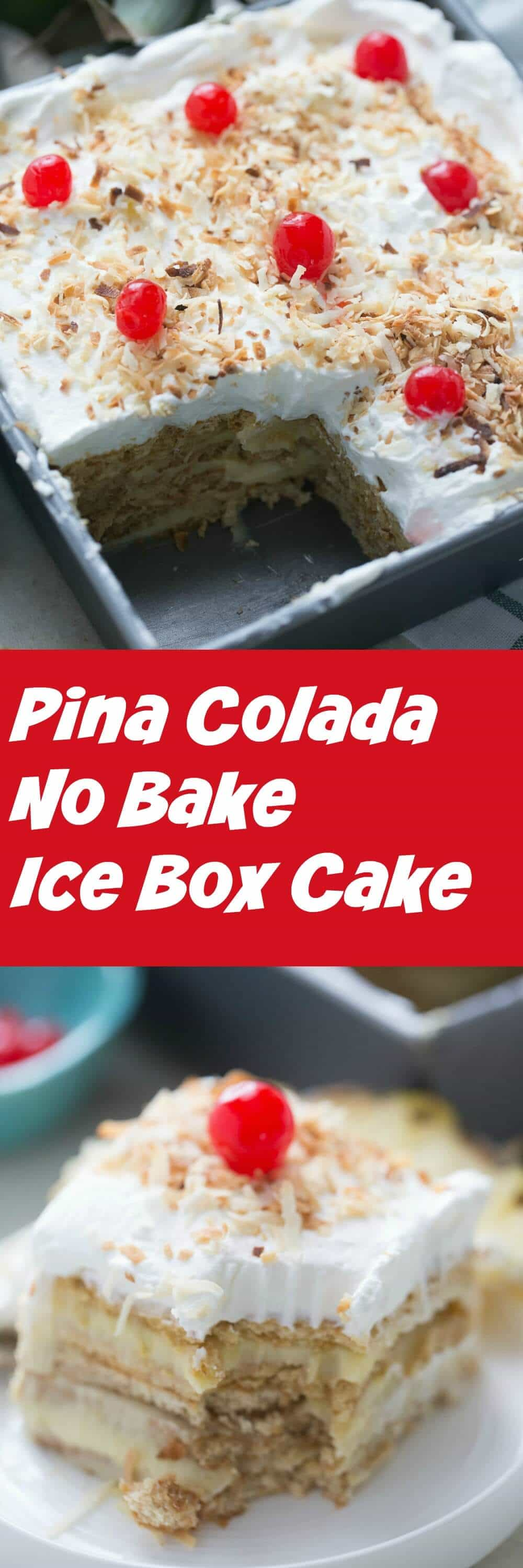 No bake cakes are perfect for those hot summer days. This pina colada ice box cake is a sweet and creamy no bake treat that everyone will love!