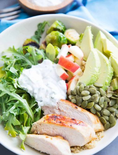This Buddha Bowl is good food! Quinoa, grilled chicken and veggies are topped with a green goddess dressing that is out of this world!