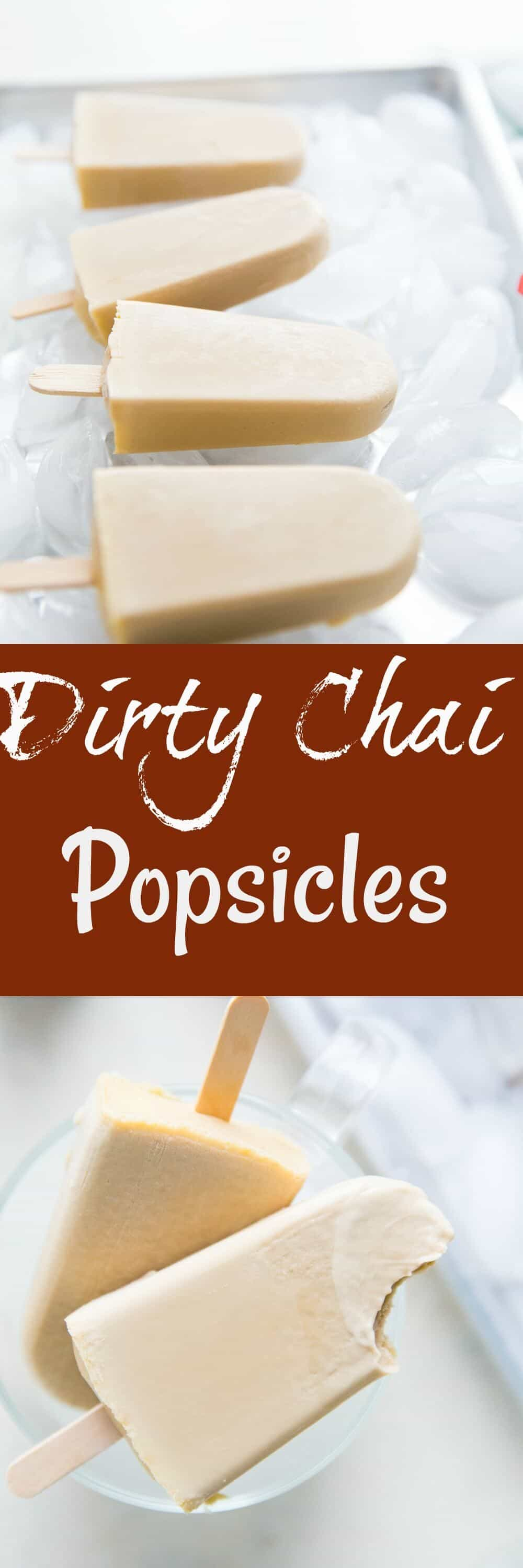 Espresso lovers and tea lover unite over these fun frozen treats! Dirty chai is the perfect blend of coffee and tea all in an ultra creamy popsicle!
