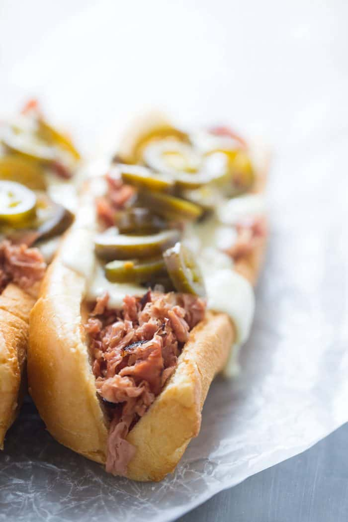 Fried bologna sandwich with pickled jalapenos close up