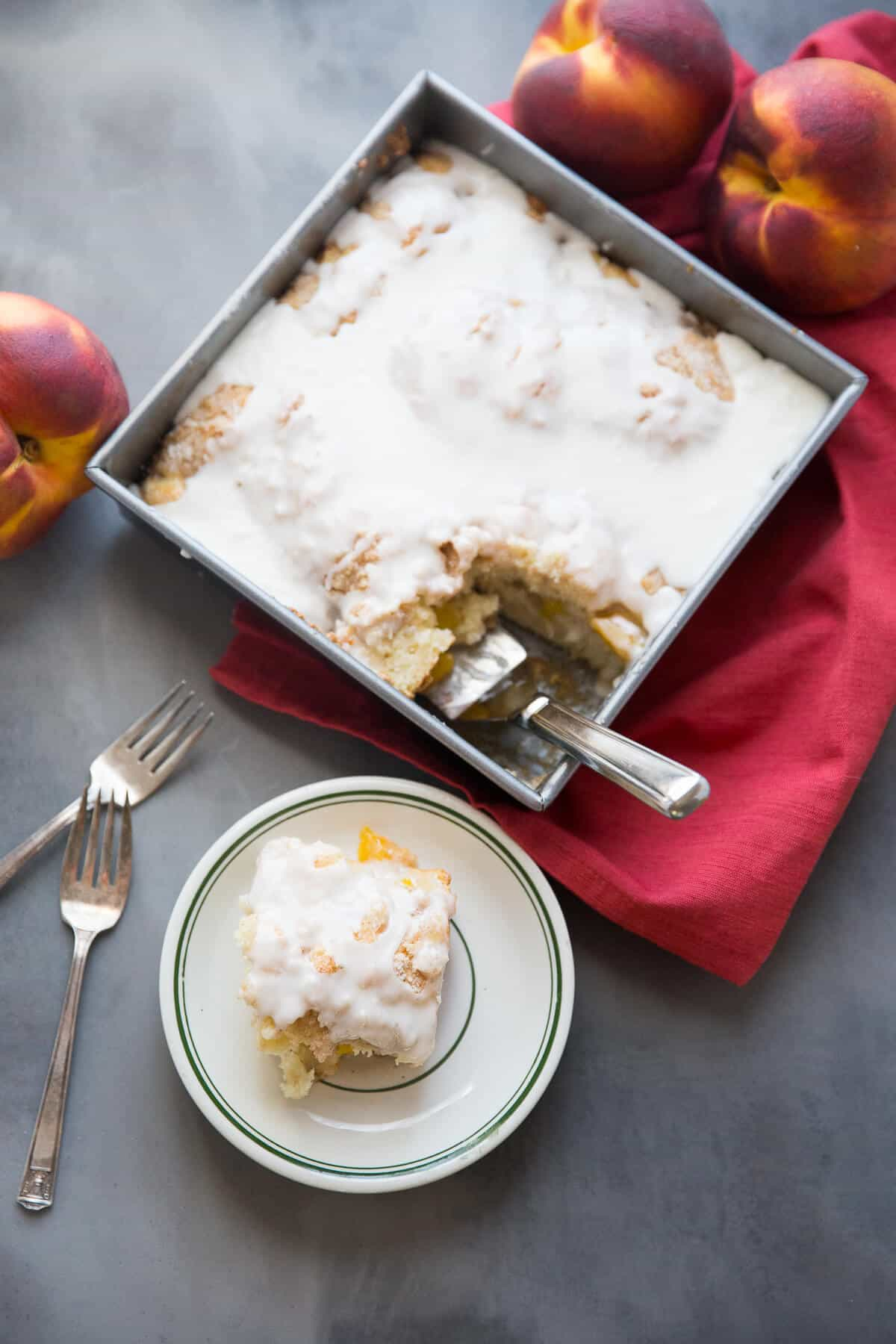 Peaches and cream are a match made in heaven and that match makes one amazing coffee cake!