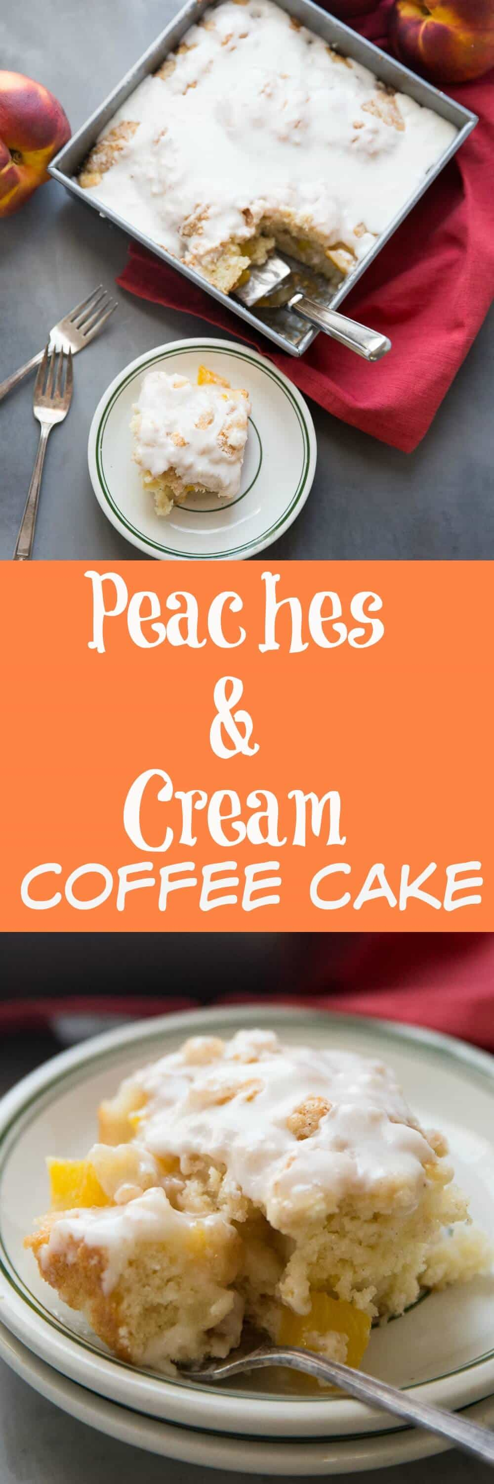 Grab fresh peaches and bake up this simple peaches and cream coffee cake. This easy dessert takes the classic combo and turns it into a summery treat that can be enjoyed any time of day!
