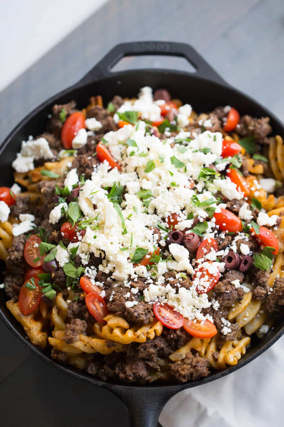 Greek fries with lamb and feta