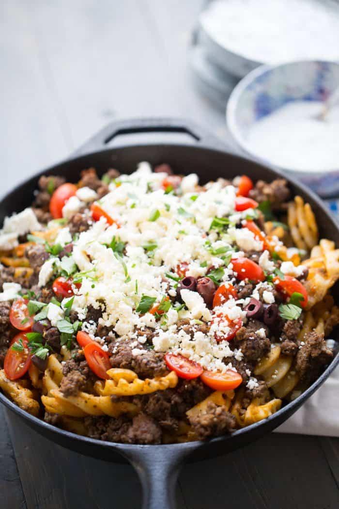 greek fries in a skille