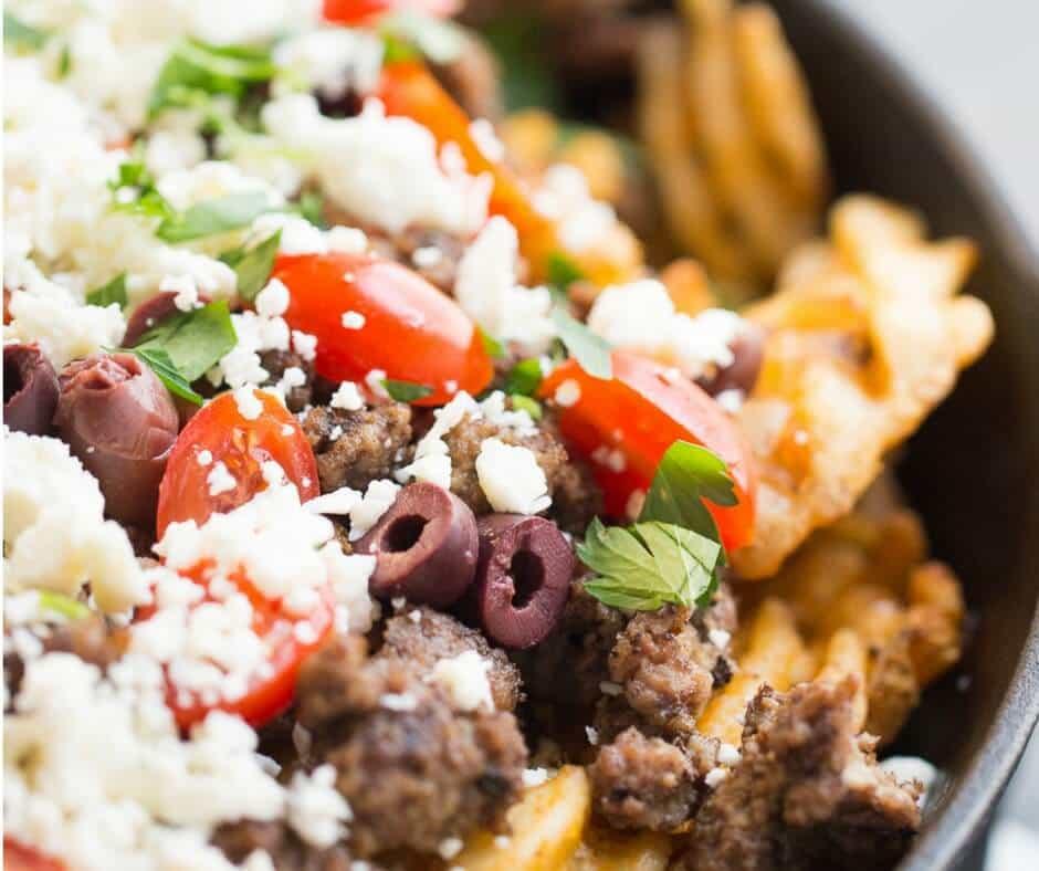 Greek fries close up