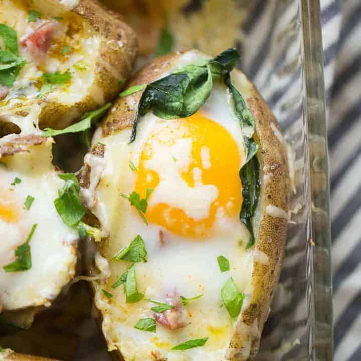 Breakfast baked potatoes are going to make you rethink the whole idea of a baked potato! These baked spuds are not just side dishes that get topped with bacon and cheese.