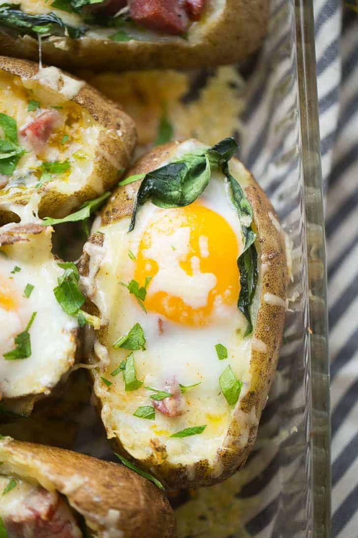 Baked breakfast potatoes are going to make you rethink the whole idea of a baked potato! These baked spuds are not just side dishes that get topped with bacon and cheese.