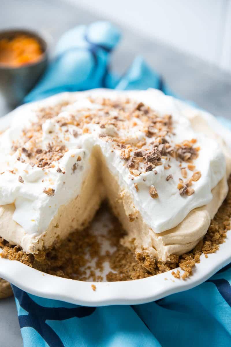 pumpkin pie white pie plate piece missing