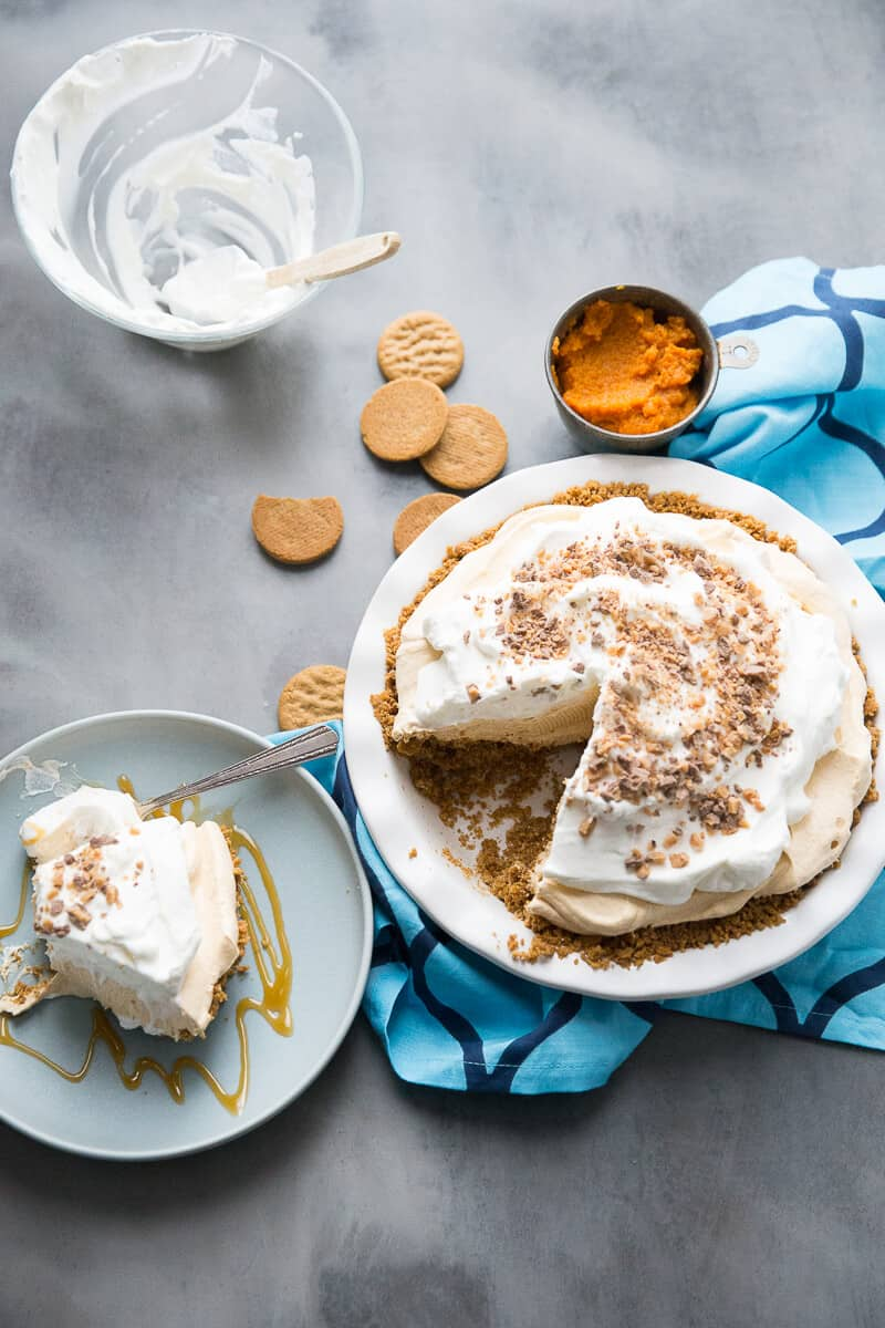 Pie in plate with piece on the side
