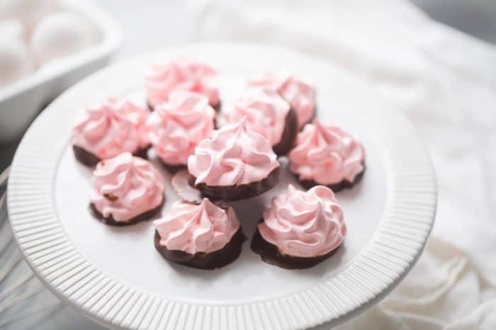 cherry meringue cookies dipped in chocolate
