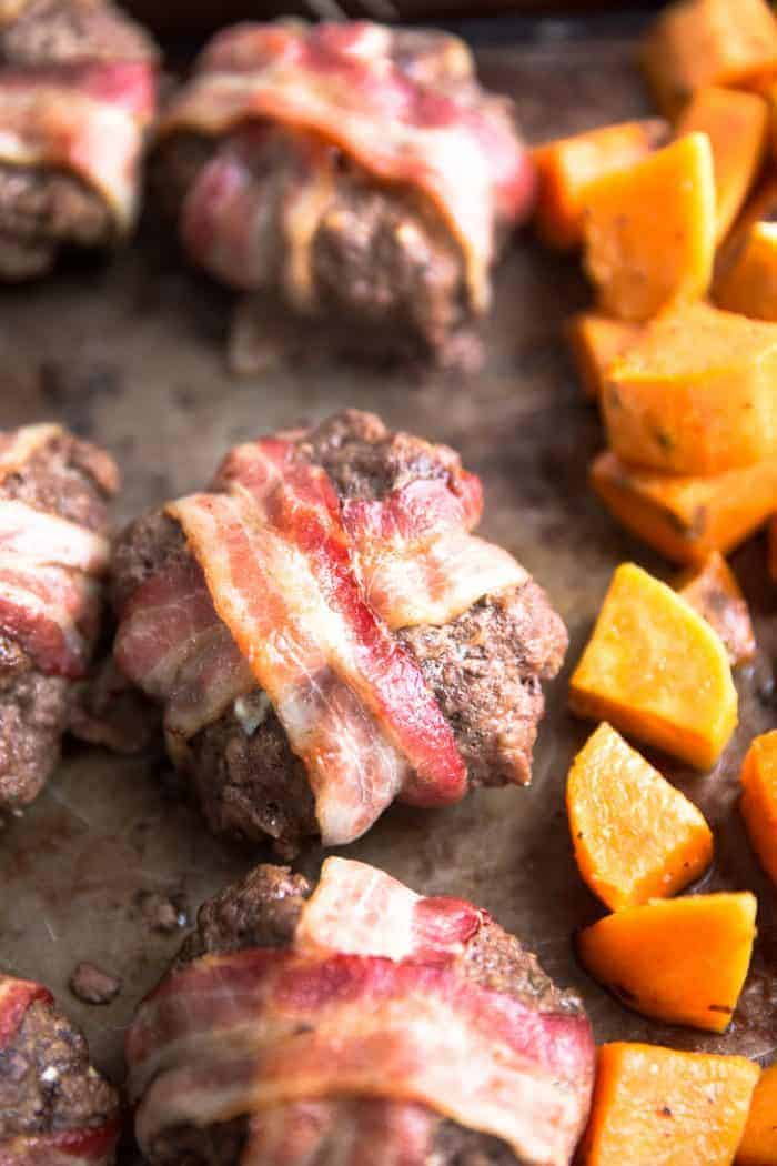 Bacon wrapped meatloaf close up