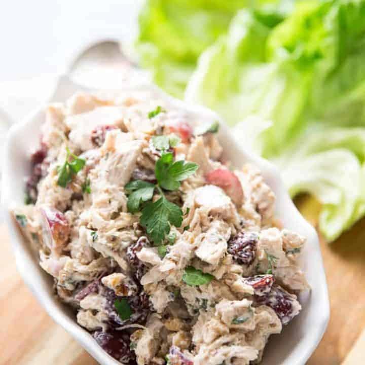 Rotisserie chicken salad bowl close up