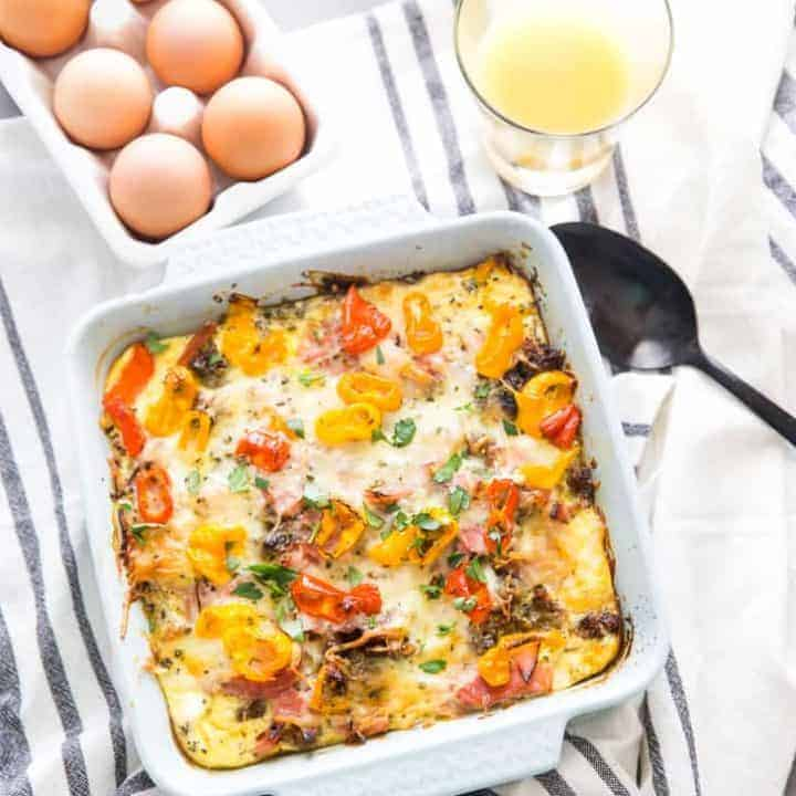 Farmers Breakfast Casserole with juice and eggs