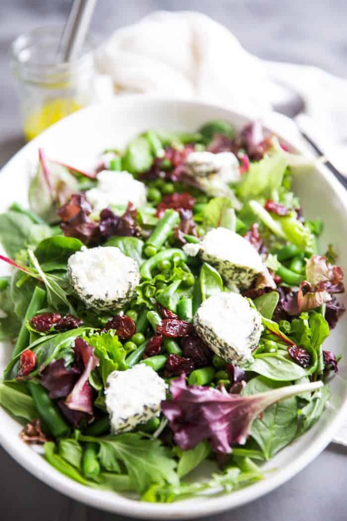 Spring salad recipe on a platter