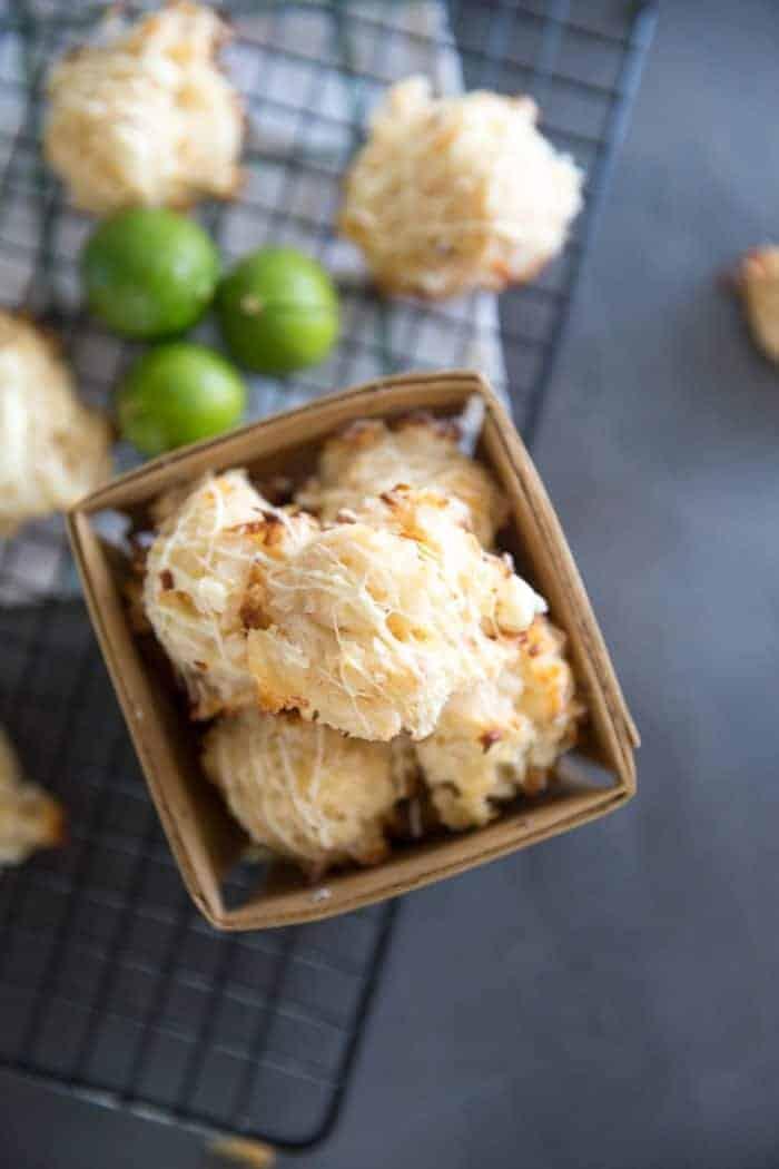 Coconut macaroon cookies in a basket