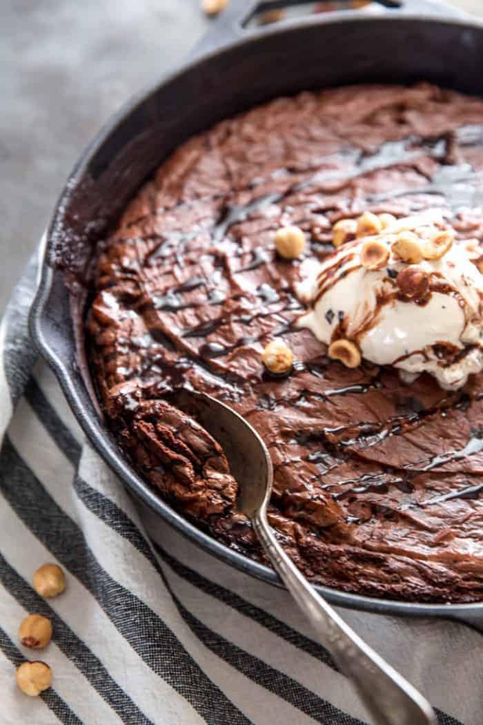 Skillet Brownie with Spoon
