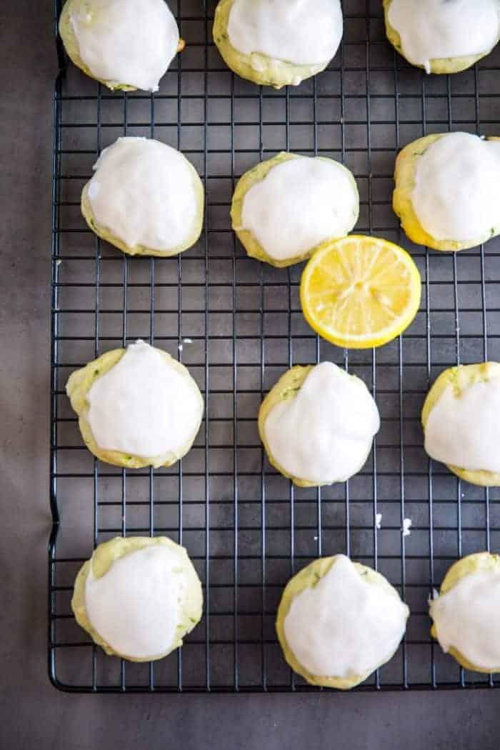 Zucchini cookies on baking rack with lemon