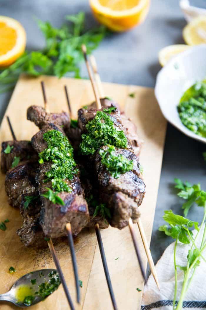 Beef shish kabobs skewers