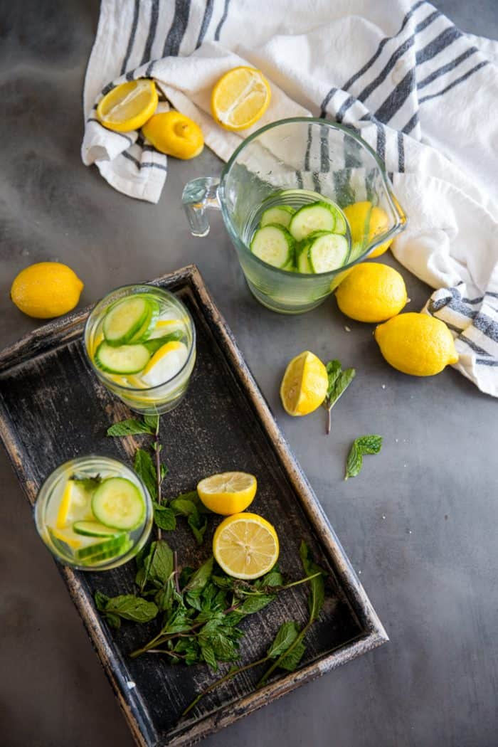 Cucumber Lemon Detox Water with glasses and pitcher